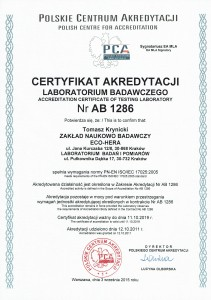 Aktualny certyfikat akredytacji AB 1286